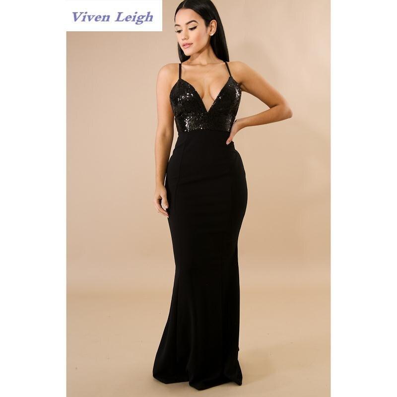 Discount Designer Evening Dresses: 2018 Spring Elegant Evening Party Long Sequin Dress Strap