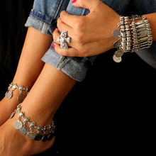 Gypsy Antique Silver Turkish Coin Anklet Ankle Bracelet Beach Foot Jewelry Ethnic Tribal Festival 1Pc