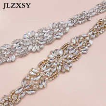 JLZXSY 17inches Fashion Silver Gold Crystal Applique Trim For Wedding Belt  Bridal Sash Bridesmaids Rhinestone Applique 5ccbf31500bb