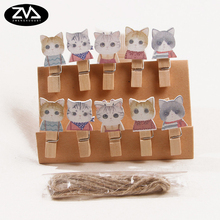 10Pcs/lots Colour cat Wooden Clip Photo Paper Postcard Craft DIY decoration Clips Office Binding Supplies with Hemp Rope
