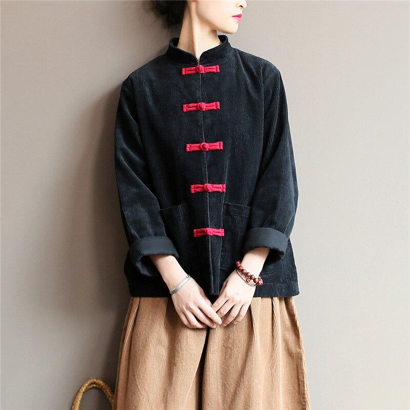 Femmes solide Blouse velours côtelé chemises Blouses Vintage chinois Style hauts 2019 nouveau solide couleur bouton lâche de haute qualité chemises