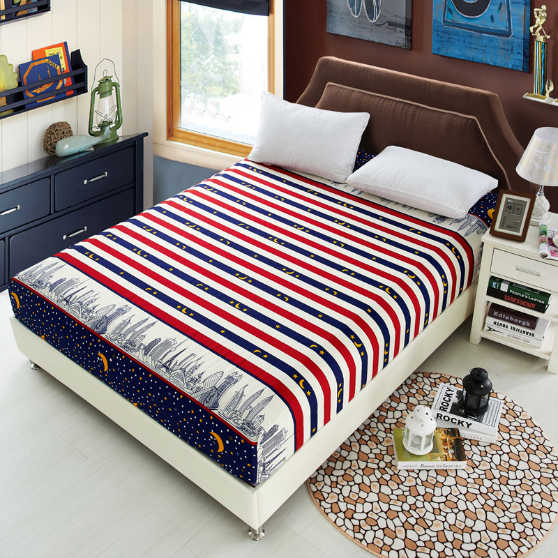 1pcs polyester fitted sheet mattress cover geometric colorful striped bedding four corners. Black Bedroom Furniture Sets. Home Design Ideas