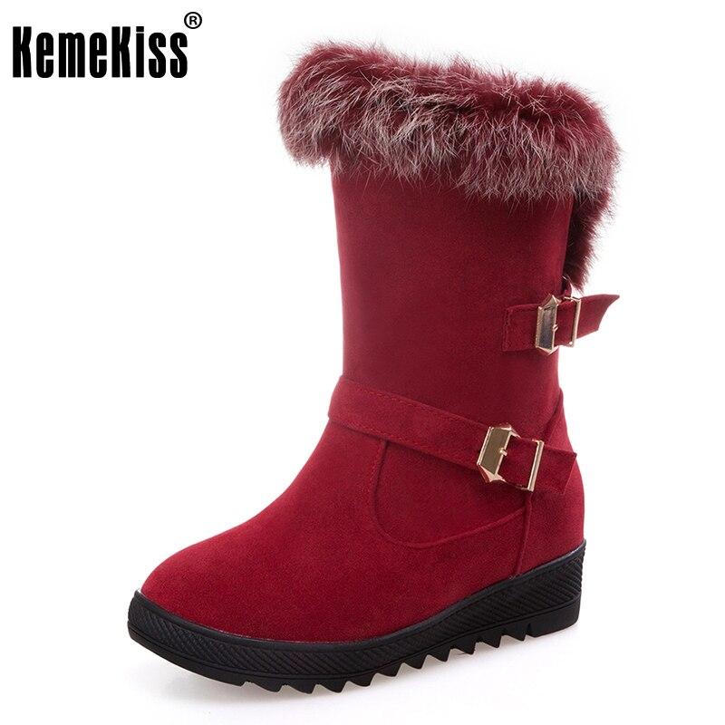 KemeKiss Size 34-43 Winter Warm Fur Inside Mid Calf Snow Boots For Women Metal Buckle Thick Platform Half Short Flat Botas
