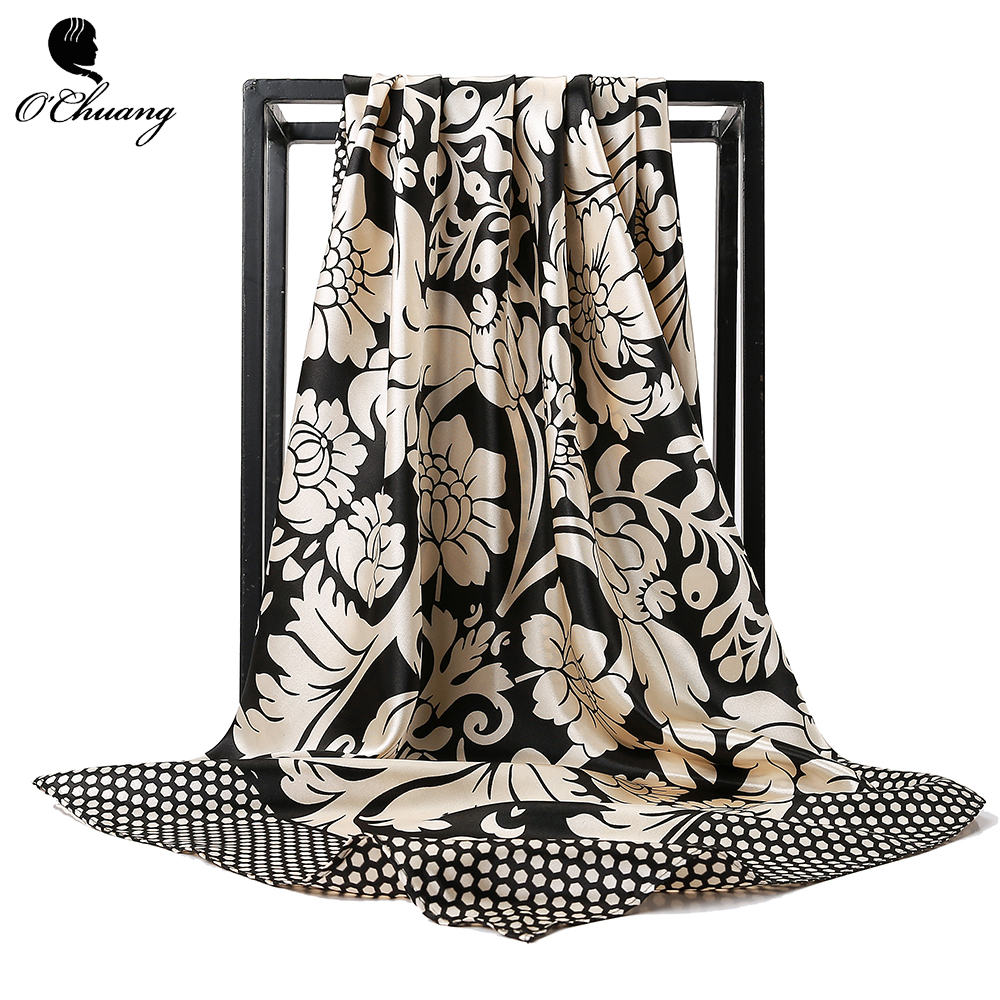 O CHUANG Fashion Silk Scarf Women Luxury Brand Foulard Soie Hijab Big Square Head Scarves Shawls For Ladies 90*90cm Wholesale