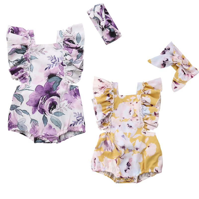 Newborn Baby Girls Butterfly sleeve Romper+Headband Set Infant Outfits Clothes