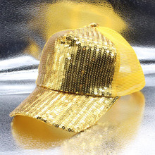 цены Wholesale Men Women Sequin Peaked Mesh Cap Shining Snapback Hip Hop Multicolor Flat Hat Summer Sports Cap Fitted Adjustable Cap