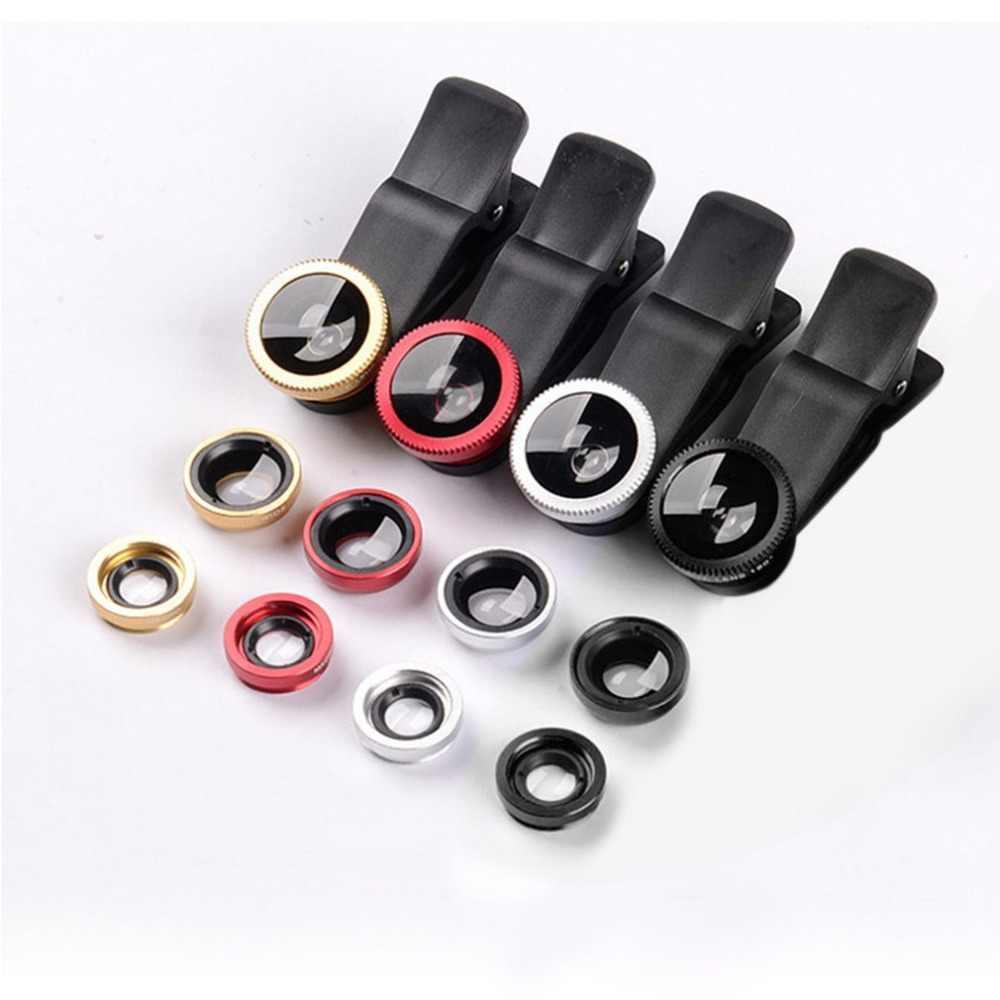 Mobile Phone Camera Lens Kit Fish Eye Lens + 2 in1 Macro Lens& Super Wide Angle Lens with Black Universal Phone Clip