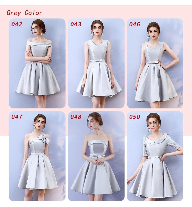 Bow Knot One Shouler Grey Colour Bridesmaid Dresses Above Knee Mini Dress  Elegant Women for Wedding Dress Back of Bandage