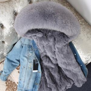 Image 1 - OFTBUY 2020 Winter Jacket Women Real Fur Coat Parka Real raccoon collar Rex Rabbit liner bomber Denim jacket Streetwear fashion