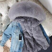 OFTBUY 2020 سترة النساء الشتوية معطف الفرو الحقيقي سترة الراكون الحقيقي طوق ريكس الأرنب بطانة منفذ الدنيم سترة الشارع الشهير