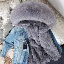 Oftbuy 2020 jaqueta de inverno feminino casaco de pele real parka gola de guaxinim real rex coelho forro bombardeiro denim jaqueta streetwear moda