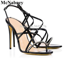 2019 European Newest Fashion Solid Rivet Peep Toe Ankle Buckle Strap Women Sandals Cross-tied Stiletto Heel Dress Women Shoes newest women solid pink and black ankle buckle strap strange transparent heel sandal summer peep toe square heel shoes free ship