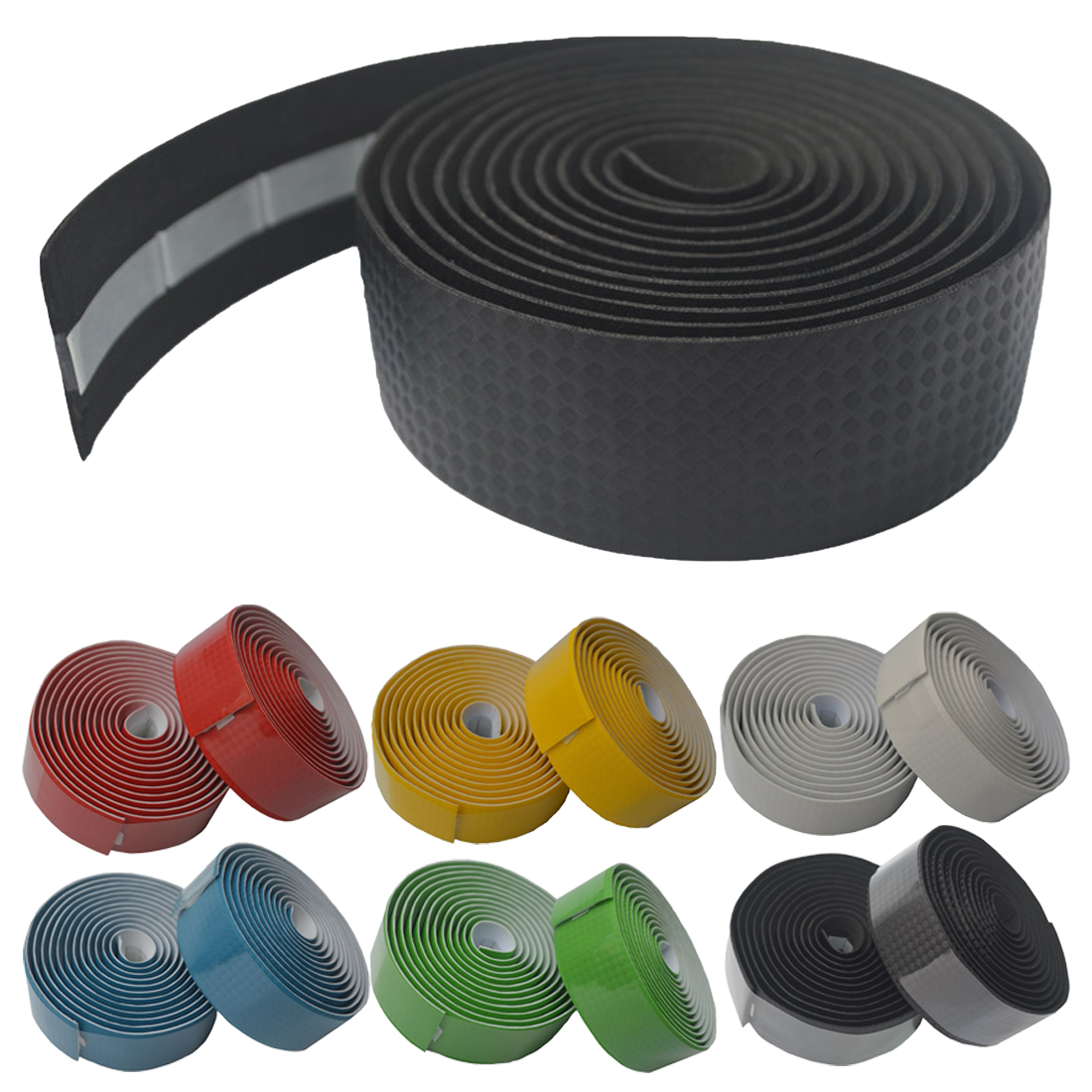 1 Pair Red Comfy Non-Slip Synthetic Cork Bike Handlebar Grip Tape w// Plugs