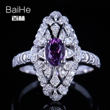 BAIHE Solid 14K White Gold(AU585)0.8CT Certified Flawless Oval Genuine Amethyst Wedding Women Cute/Romantic Fine Jewelry Ring