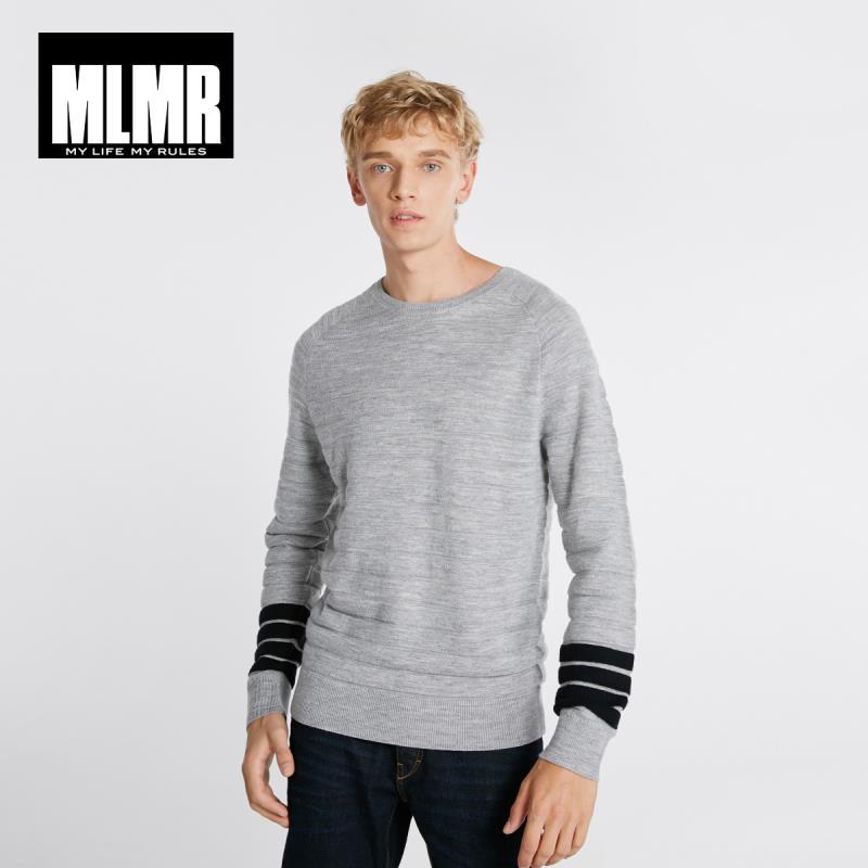 JackJones Autumn Men's Wool Blend Contrast Color Casual Round Neck Long Sleeve Sweater Top Streetwear 218324550