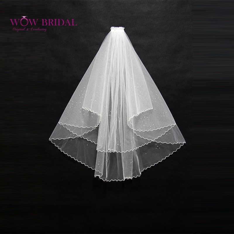 Wowbridal Graceful Brautjungfer Hochzeit Schleier 2016 Zwei-Schicht Kristall Perlen Bleistift Rand Organza Braut Zubehör