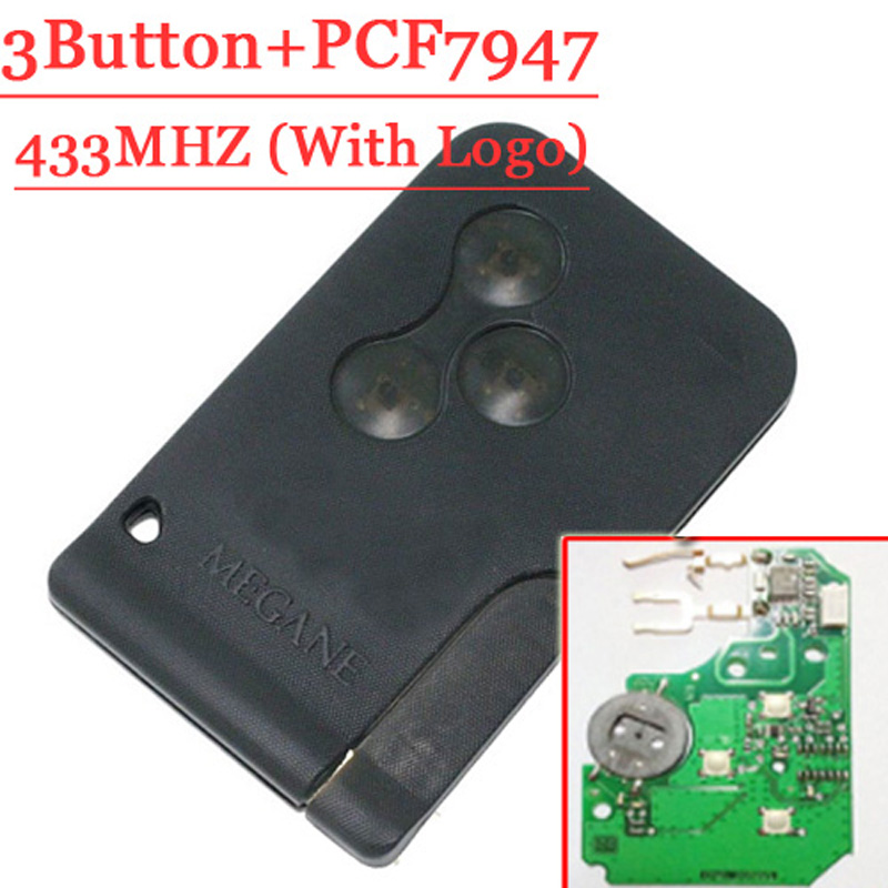 Free Shipping Best Price (1pcs)  Excellent Quality 3 Button Smart Card for Renault Megane Scenic With 7947 chip 433MHZ 2016 best quality wholesale price free shipping gold detector for security radar detection device