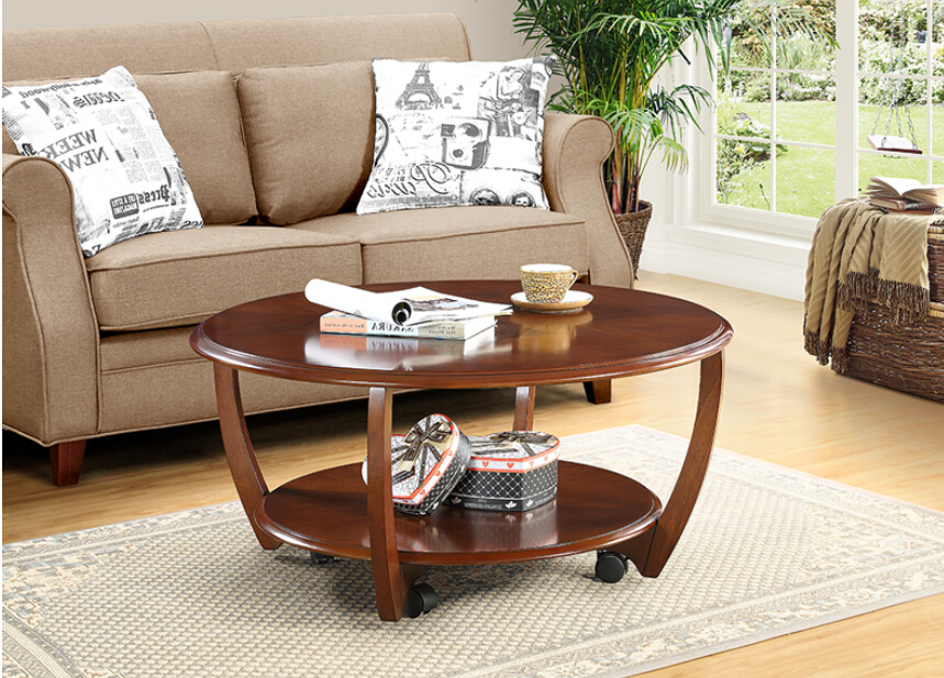 American round tea table. Contracted solid wood round tea table. Small family creative living room move round tea table