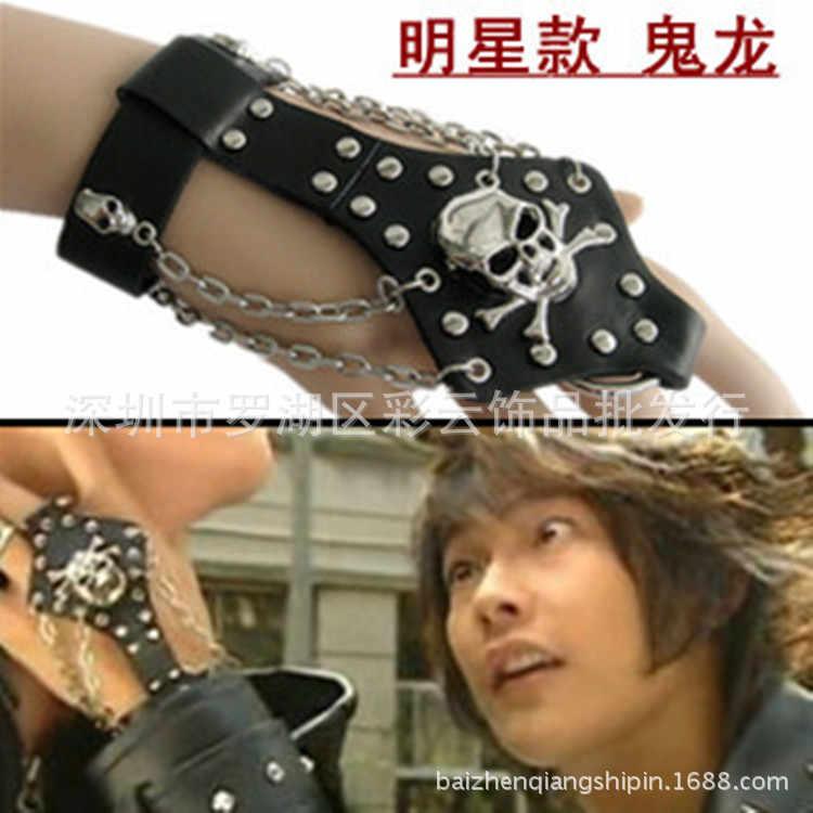 Czaszka PU skórzane rękawiczki mężczyźni Gothic Punk fajne męskie Sexy taniec disco Rock-and-roll rękawiczki bez palców czarny palec kółko łańcucha rękawiczki