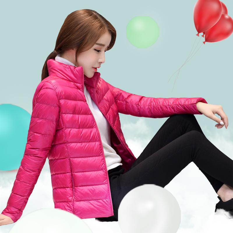 2018 New Women Slim Light Thin   Down   Jacket Female Short Stand Collar Plus Size White Duck   Down     Coats   Women   Down   Outwear YP1083