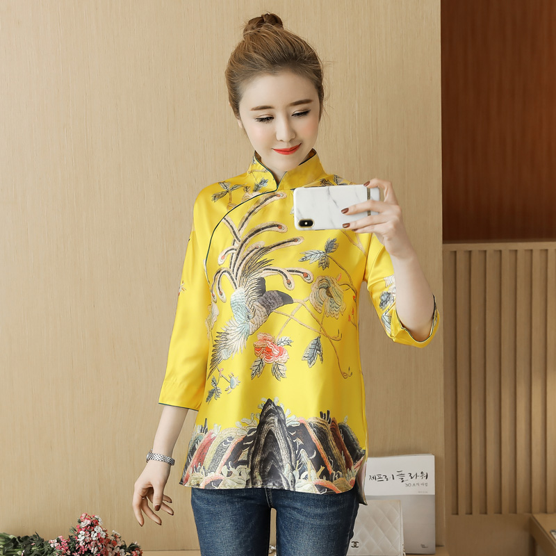 Rétro femmes broderie chinoise 3/4 manches Qipao hauts blouses décontractées chemises