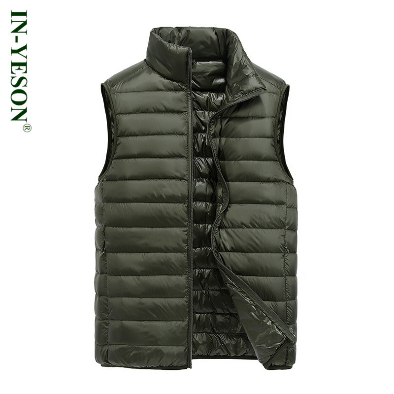 2017 New IN-YESON Brand Men's Ultralight Duck   Down   Vest High Quality Men's Light   Down     Coat   Sleeveless Jacket Simple Design