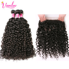 Vanlov 360 Lace Frontal With Bundle Brazilian Water Wave Human Hair 360 Frontal Closure With Bundles Remy Hair 4pcs/Lot(China)