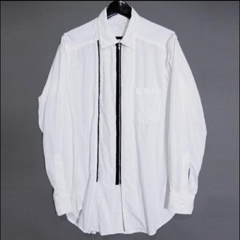 Original Men's Shirt Zipper Stitching Loose 100% Cotton High Street Square Collar Long Sleeve Casual Shirts Hair Stylist Clothes
