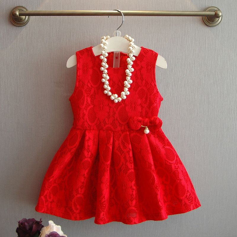 2016 spring and autumn kids clothes Girls party dresses Aristocratic Lace Hollow Sleeveless vest dress baby girl Princess Dress