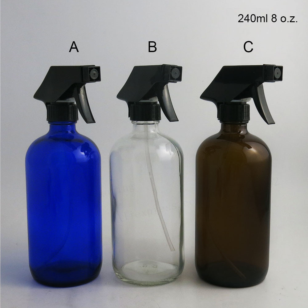 2 X 8 Oz Large Refillable 240ml Amber blue Clear Glass Spray Bottle Container trigger sprayer cap for essential oil cleaning subtil elixir intense nutrition shine oil by phyto for unisex 2 x 5 oz oil
