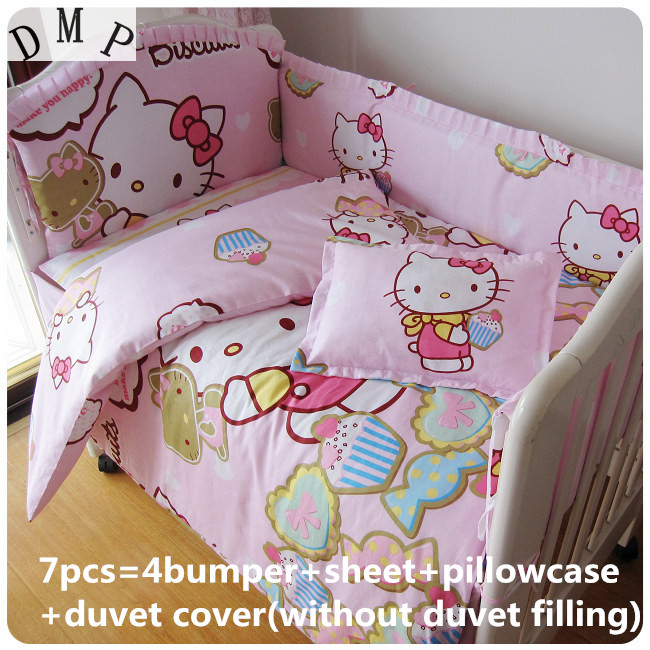 Discount 6 7pcs Cartoon baby bedding set 100 cotton curtain crib bumper baby cot sets baby