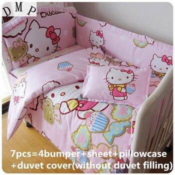 Скидка! 6/7 шт. с изображениями мультипликационных персонажей, набор постельного белья для детей, 100% хлопок занавес кроватки бампер Комплект ...