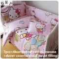 Korting! 6/7 stks Cartoon baby beddengoed set 100% katoen gordijn crib bumper babybedje sets baby bed bumper, 120*60/120*70 cm