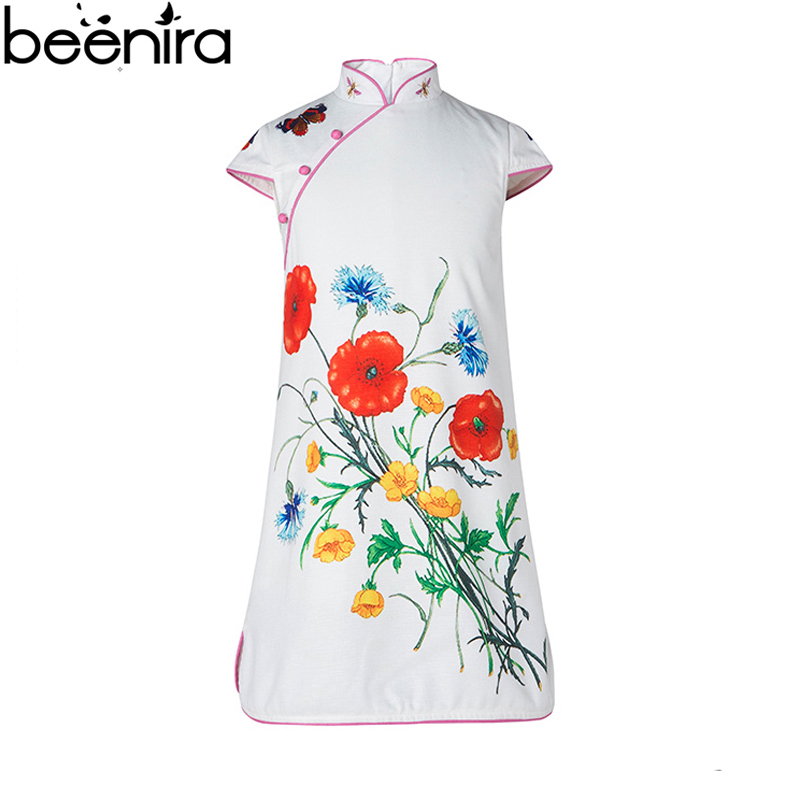 BEENIRA Summer Girls Dress Children Cheongsam Style butterfly print Costume Baby Chinese Style Clothing 2017 chouchouchic summer children clothing girls dress party wear cotton three quarter sleeve chinese style qipao blue stripes