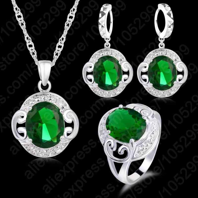 925 Sterling Silver Best Quality Green Cubic Zircon Crystal Fashion Jewelry Sets Pendant Necklace & Earrings& Ring