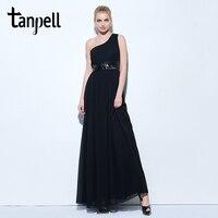 Tanpell One Shoulder Evening Dress Black Sleeveless Floor Length A Line Dresses Ladies Sequins Pleats Party