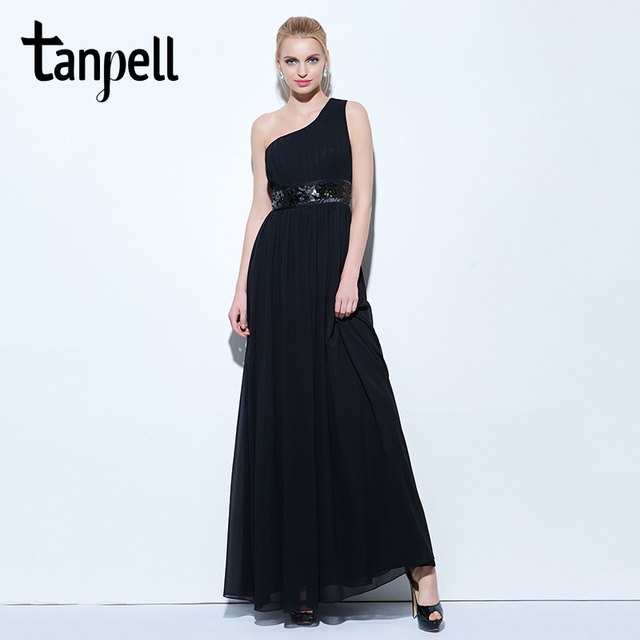 Aliexpress.com : Buy Tanpell one shoulder evening dress black ...