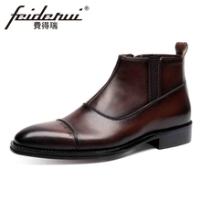 Vintage Genuine Leather Men's Chelsea Martin Ankle Boots Pointed Toe Carved Handmade Cowboy Riding Man High-Top Shoes YMX240