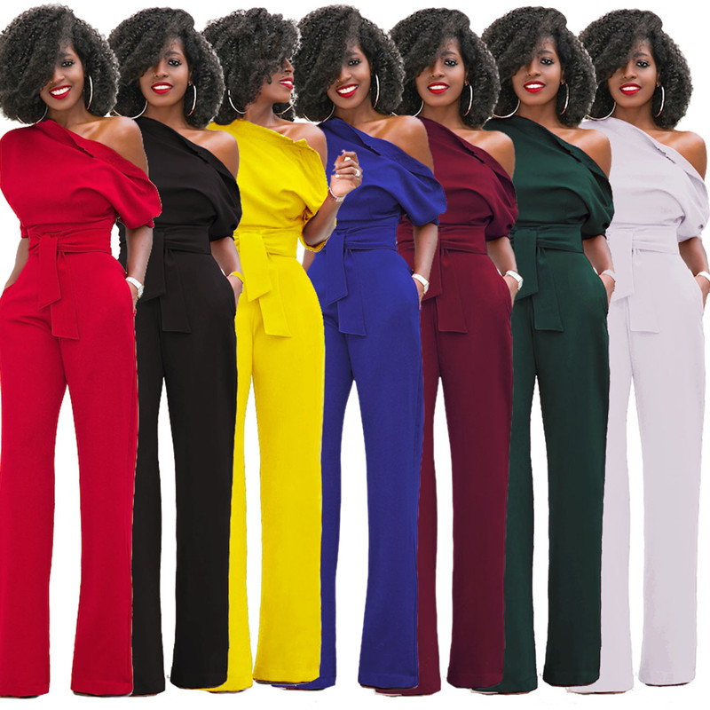 New Sexy Women Jumpsuits & Rompers Elegant Boot Cut Hot Fashion Sashes Jumpers European And American Style For Lady