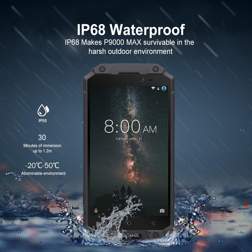 Poptel P9000 MAX 4G Phablet IP68 MTK6750V Octa Core 4 GB di RAM 64 GB ROM 9000 mAh Del Telefono Mobile impermeabile Antiurto