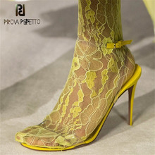 Prova Perfetto Runway Design Sexy Ladies Open Toe Party Stiletto High Heel Shoes Clear Slides Woman Nude PVC Transparent Shoes