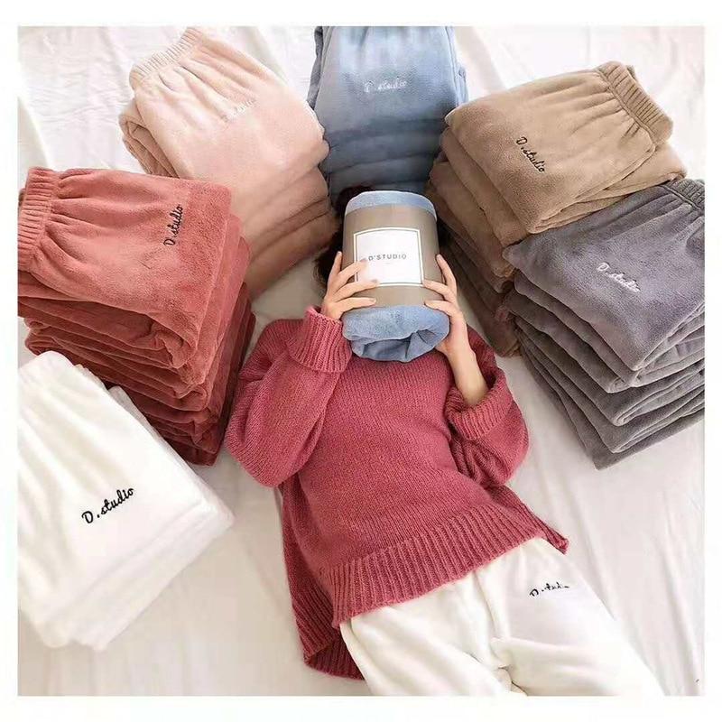 Autumn Winter Night Wear Plush Lounge Pants Home Pajama Elastic Waist Sleepwear Thick Pyjama Coral Fleece Casual Sleep Bottoms