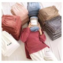 5ef5e6c30 Outono Inverno Desgaste Da Noite Calças de Salão calças de Pijama Em Casa  de Pelúcia Cintura Elástica Sleepwear Pijama Grosso Co.
