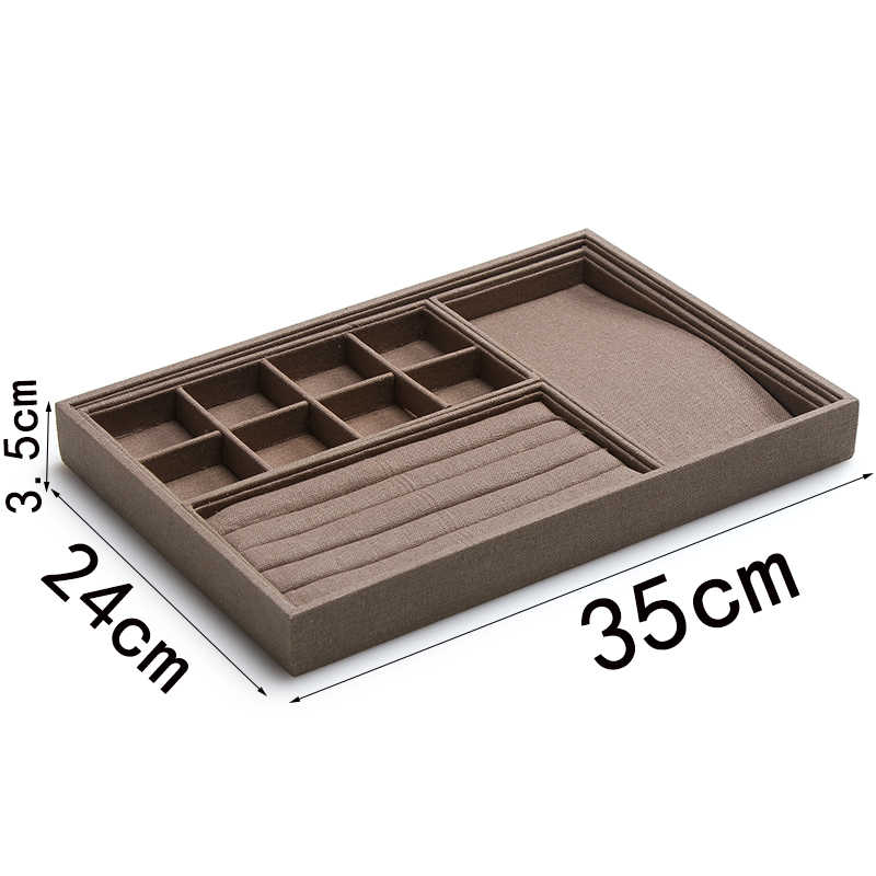 coffee linen 3 small mixture ring necklace  8 grids linen  trays can put in large jewelry storage  trays GD2439