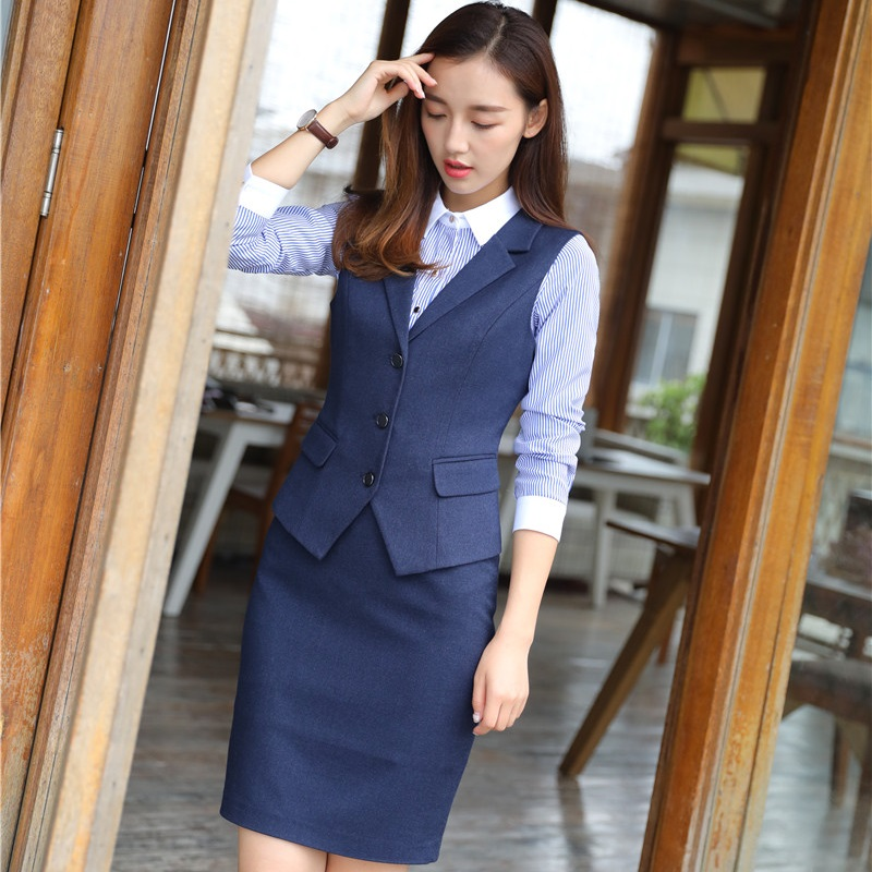 Autumn Winter High Quality Fabric Blazers With 2 Pieces Vest And Skirt For Ladies Work Wear Outfits OL Styles Plus Size 4XL