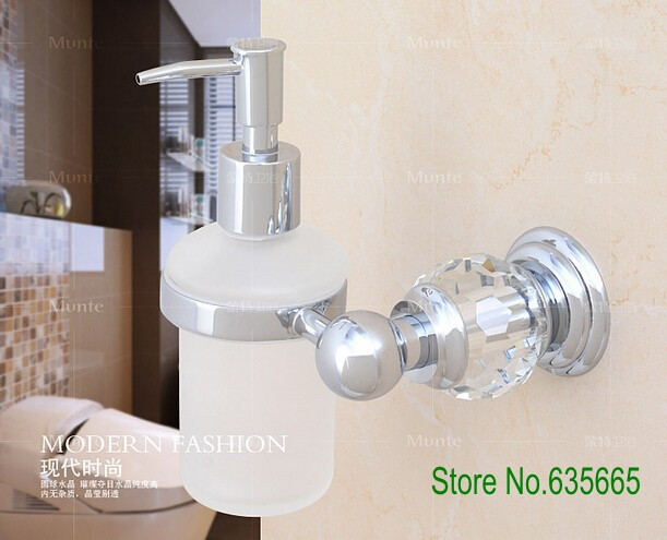 Luxury Crystal Glass Decoration Chrome Brass Wall Hand Liquid Soap  Dispensers Emulsion Bottle Bathroom Sanitary Accessories