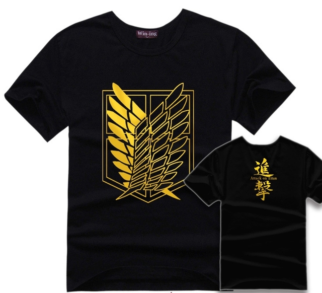 Hot anime attack on titan black T shirt summer cotton anime logo ...