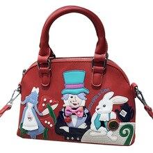 Bolsos De Mujer bolsos de cuero con parches bordados bolsos de hombro bolso de mensajero Totes Braccialini estilo de marca Alicia en el país de las Maravillas