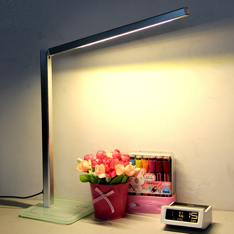 Eyesight Protection LED Reading Lamp Foldable Desk Lamp,5000K Natural Light,3 Steps Dimming with glass lamp base