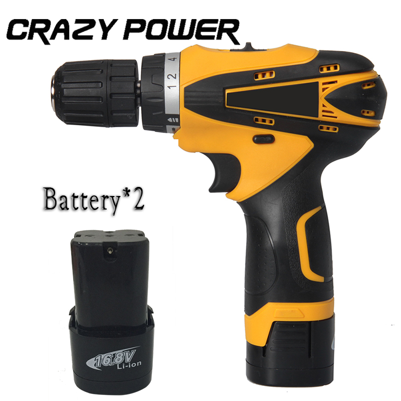 Crazypower 16 8V MINI Cordless drill Double Speed Lithium Battery 2 rechargeable cordless electric screwdriver power